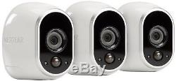 Arlo by NETGEAR Security System 3 Wire Free HD Indoor & Outdoor Cameras SEALED