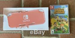 BRAND NEW Coral Nintendo Switch Lite Bundle with New & Sealed Animal Crossing
