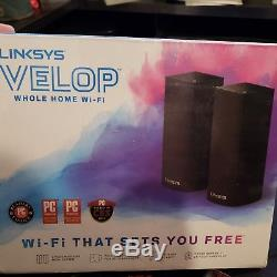 Linksys Velop Mesh WiFi System, Tri-Band, 2-Pack BLACK (AC4400) New Sealed
