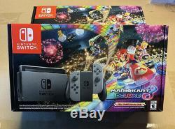 Nintendo Switch Gray Joy Con Mario Kart 8 Deluxe Bundle NEW SEALED 32GB