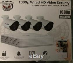SEALED Night Owl 4 Channel DVR Security System with 4 1080p Cameras and 1TB